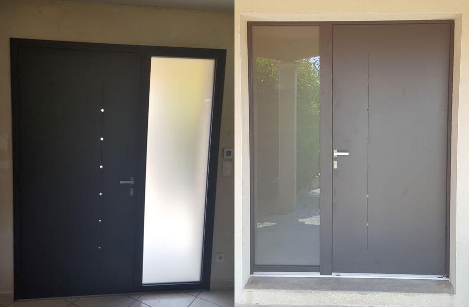 pose d 39 une porte d 39 entr e aluminium en d pose totale le hub du groupe gmi. Black Bedroom Furniture Sets. Home Design Ideas
